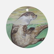 Playful River Otter Round Ornament