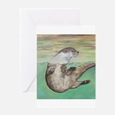 Playful River Otter Greeting Cards