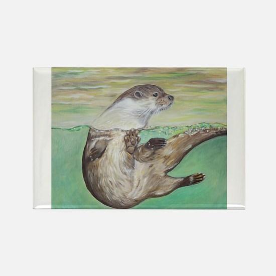Playful River Otter Magnets