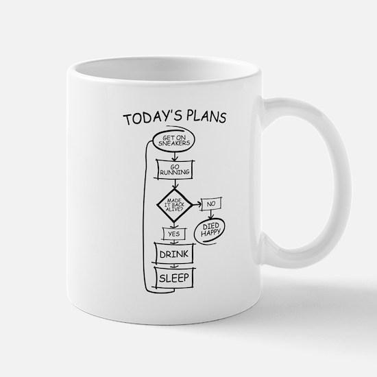 Running Flow Chart Humor Mugs