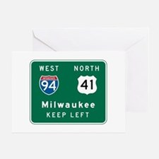 Milwaukee, WI Highway Sign Greeting Cards