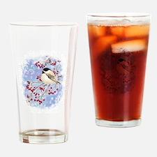 Watercolor Chickadee bird Christmas Drinking Glass
