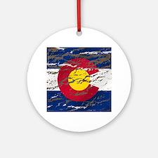 Colorado Vintage Flag Round Ornament