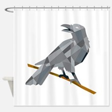 Crow Perching Looking Back Low Polygon Shower Curt