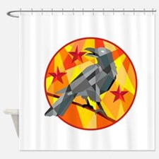 Crow Perch Stars Circle Low Polygon Shower Curtain