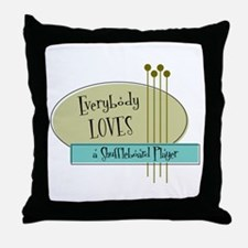 Everybody Loves a Shuffleboard Player Throw Pillow