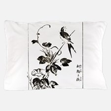 Morning Glory & Swallow Ukiyoe Pillow Case