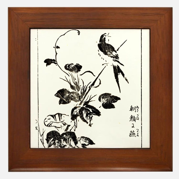Morning Glory & Swallow Ukiyoe Framed Tile