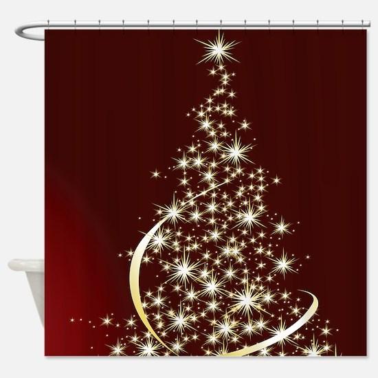 Christmas Tree Sparkling Glitter Ho Shower Curtain
