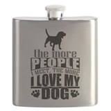 The more people i meet the more i love my dog Flask Bottles