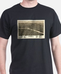 Vintage Map of Rockford Illinois (1880) T-Shirt