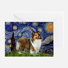 Starry / Sheltie (s&w) Greeting Card