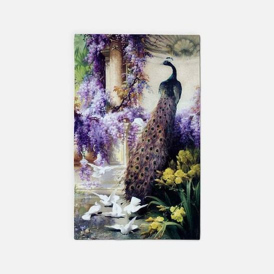 Bidau Peacock, Doves, Wisteria 3'x5' Area