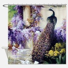 Bidau Peacock, Doves, Wisteria Shower Curtain