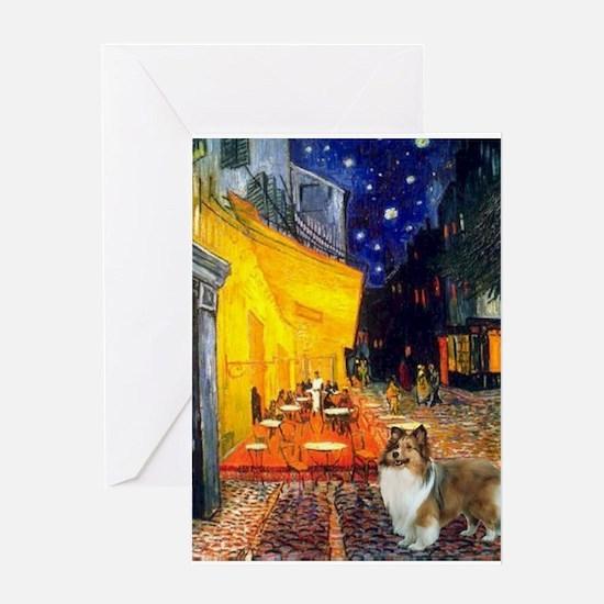 Cafe / Sheltie Greeting Card