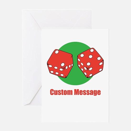 One Line Custom Dice Craps Design Greeting Cards