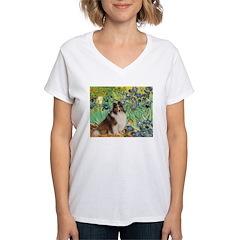 Irises / Sheltie Women's V-Neck T-Shirt