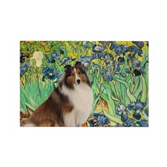 Irises / Sheltie Rectangle Magnet (10 pack)