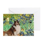 Irises / Sheltie Greeting Cards (Pk of 20)