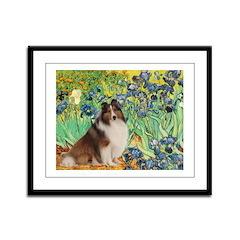 Irises / Sheltie Framed Panel Print