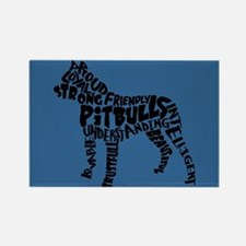 Pit Bull Word Art Rectangle Magnet