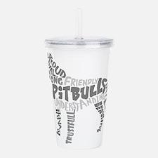 Pit Bull Word Art Grey Acrylic Double-wall Tumbler