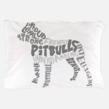 Pit Bull Word Art Greyscale Pillow Case