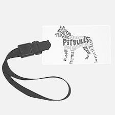 Pit Bull Word Art Greyscale Luggage Tag