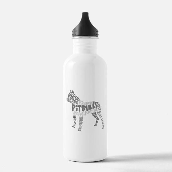 Pit Bull Word Art Grey Water Bottle