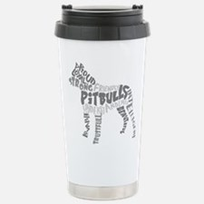 Pit Bull Word Art Greys Stainless Steel Travel Mug