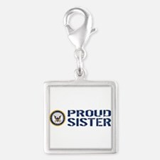 U.S. Navy: Proud Sister (Blue Silver Square Charm