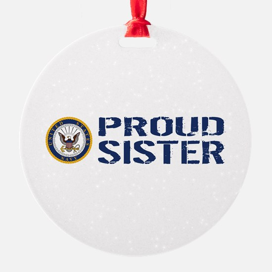 U.S. Navy: Proud Sister (Blue & Whi Ornament