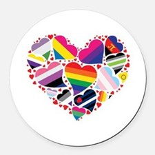 All Pride Heart Round Car Magnet