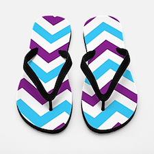 Chevron Zig Zag Pattern: Blue & Purple Flip Flops