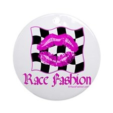 Racing Kiss Pink Ornament (Round)