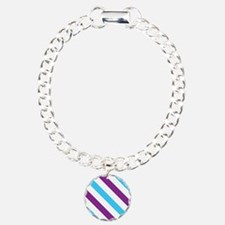 Diagonal Stripes: Blue & Charm Bracelet, One Charm
