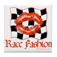 Racing Kiss Orange Tile Coaster