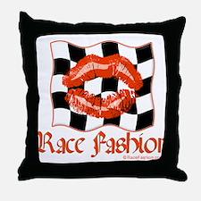 Racing Kiss Orange Throw Pillow