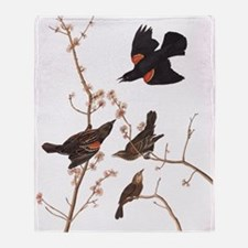Red-Winged Starling Vintage Audubon Throw Blanket