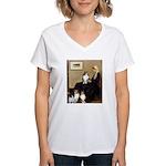 Whistler's / 3 Shelties Women's V-Neck T-Shirt