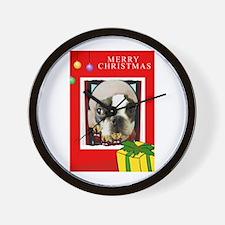 MERRY CHRISTMAS BOSTON TERRIER LOOK Wall Clock