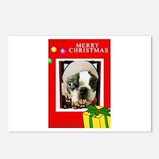 MERRY CHRISTMAS BOSTON TERRIER LOOK Postcards (Pac