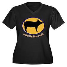 Hog Show Family Women's Plus Size V-Neck Dark T-Sh