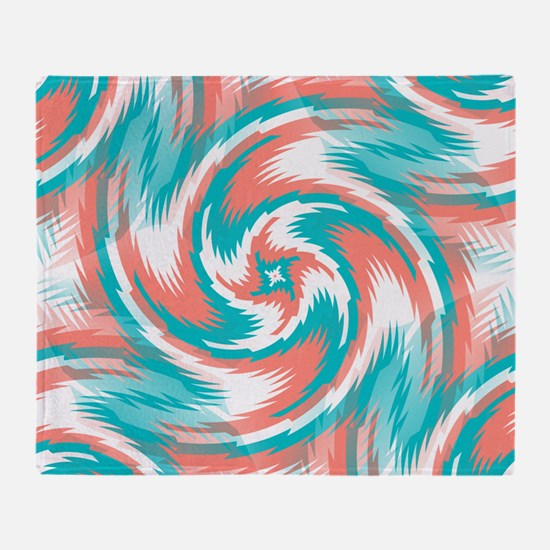 Coral Teal Swirl Throw Blanket