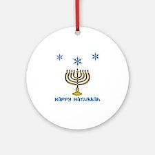 Snowflakes Menorah Hanukkah Round Ornament
