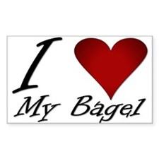 I Love My Bagel Rectangle Decal