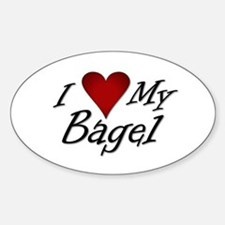 I Love My Bagel Oval Decal