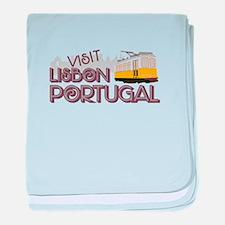 Visit Lisbon Portugal baby blanket