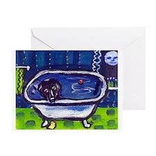 BLACK LAB takes bath Design Greeting Cards (Packag