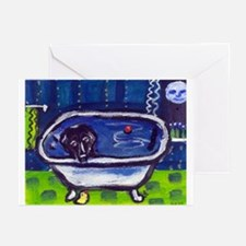 BLACK LAB takes bath Design Greeting Cards (Packag